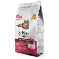 Ração para gatos Schesir Sterilized & Light presunto